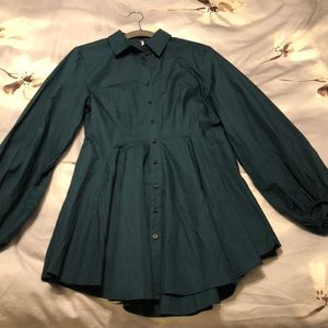 NWT. Free People Button Down. Sm. Dark Teal/Green